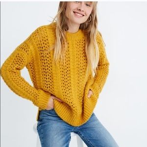 Madewell Windemere Pointelle Wool Yellow Knit New
